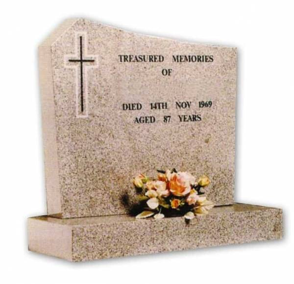 light grey granite headstone