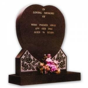 heart shaped granite headstone
