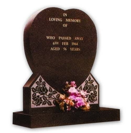 heart shaped granite headstone
