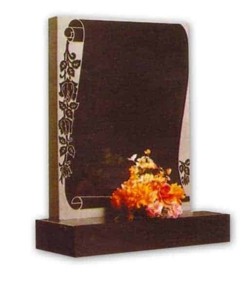 granite headstone with scroll decoration