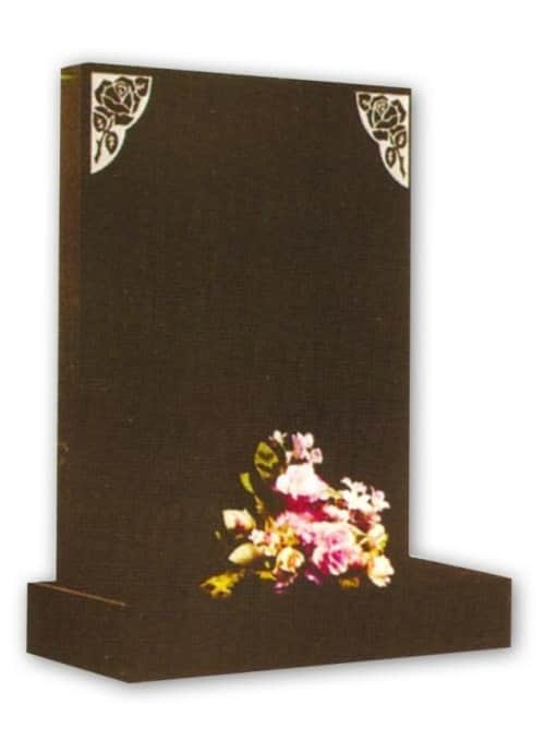 granite headstone with flowers