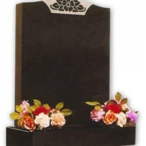 black granite headstone with flower engraving
