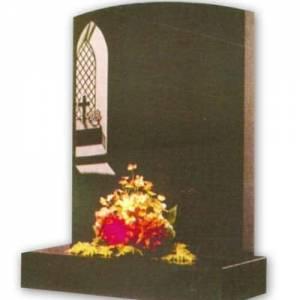 granite headstone with cross in window engraving