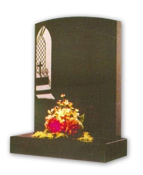 granite headstone with cross in window engraving