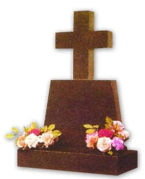 granite headstone with cross