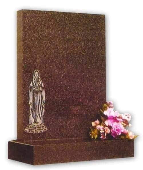 granite headstone with mary engraving