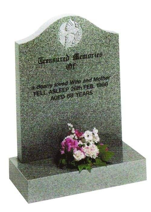 grey granite headstone with engraving