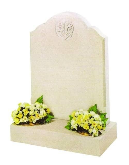white naberesina stone headstone