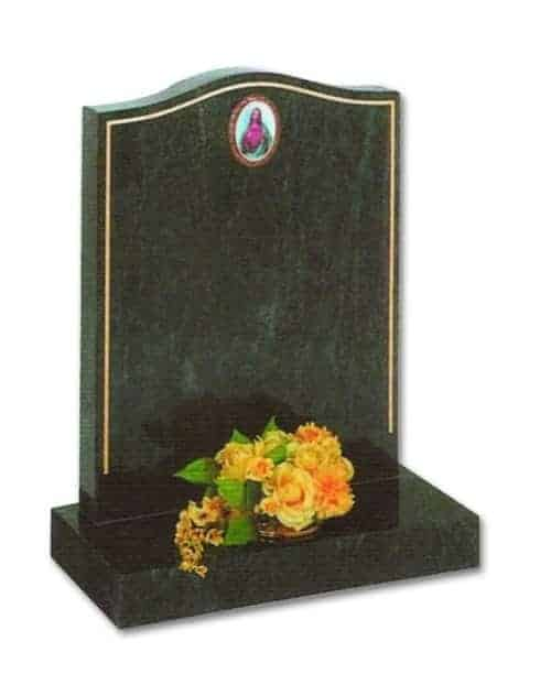 granite headstone with picture of jesus and yellow flowers