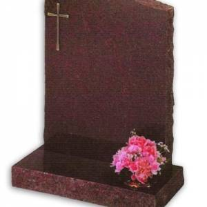 granite headstone with cross