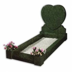 heart shaped full kerb grey granite headstone