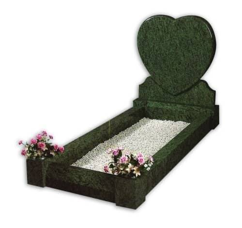 heart shaped full kerb grey granite headstone