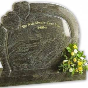 circular bahama blue granite headstone