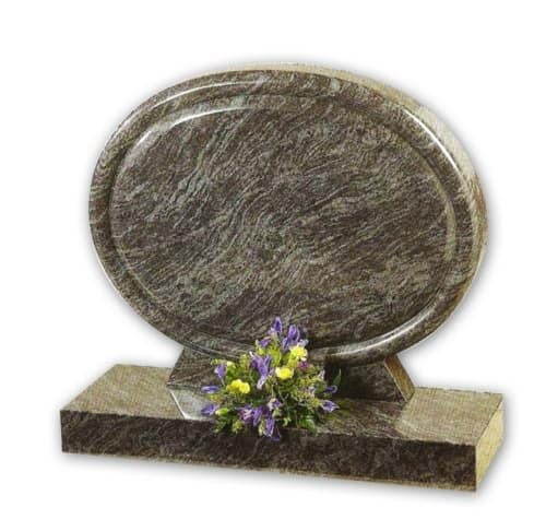 circular bahama blue granite headstone