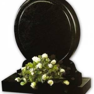 circular black granite headstone