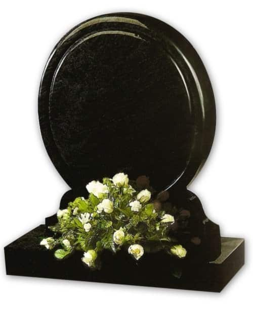 circular black granite headstone