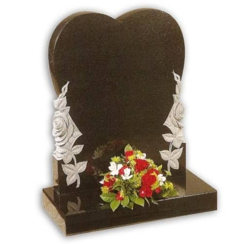 heart shaped headstone with flowers