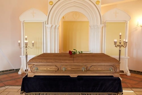 Coffin in chapel